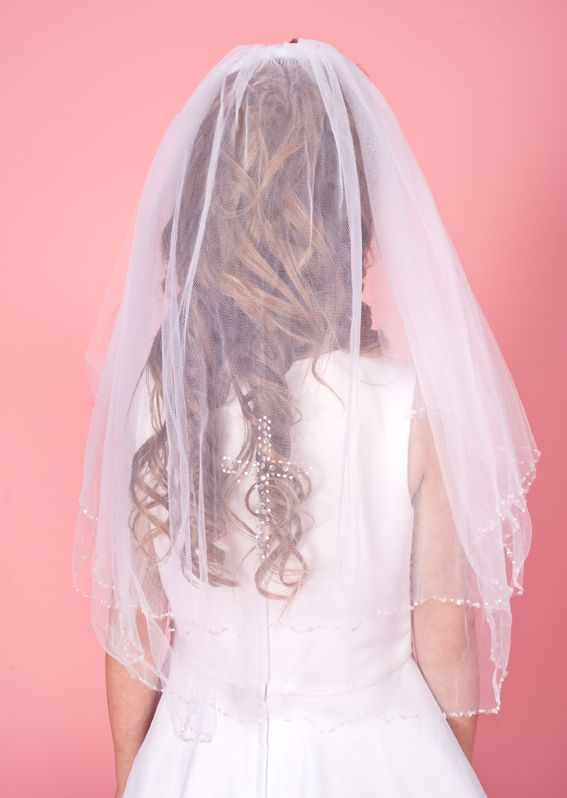 Combed Veil with Crystal Sequin Edge and Cross LA116