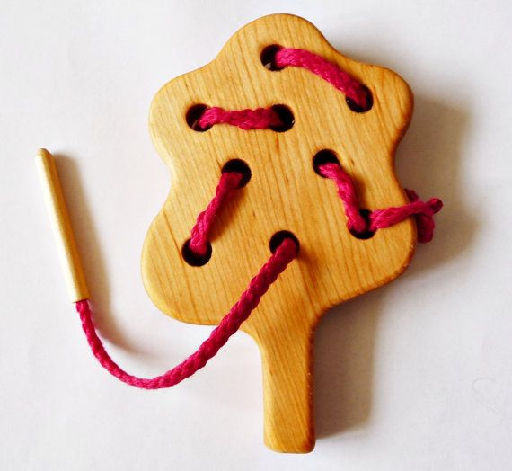 Wooden Tree Montessori, Hand-crafted Lacing Toy on Etsy, $8.00