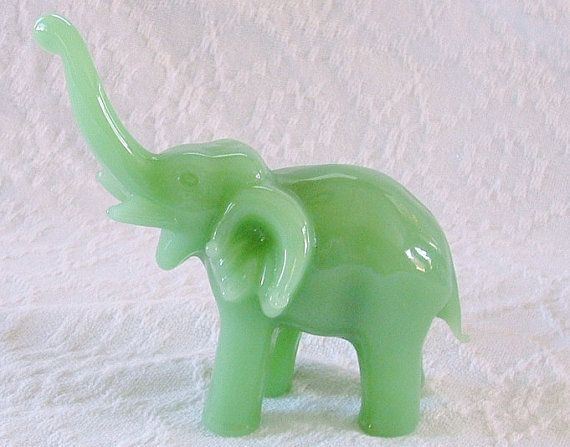 Vintage Jade Green Elephant Figurine , Blown Glass