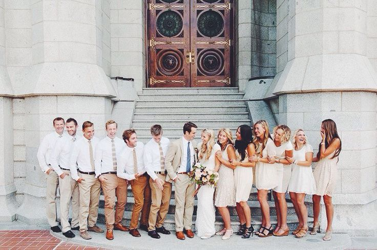 Mismatched groomsmen in different shades of tan and brown.