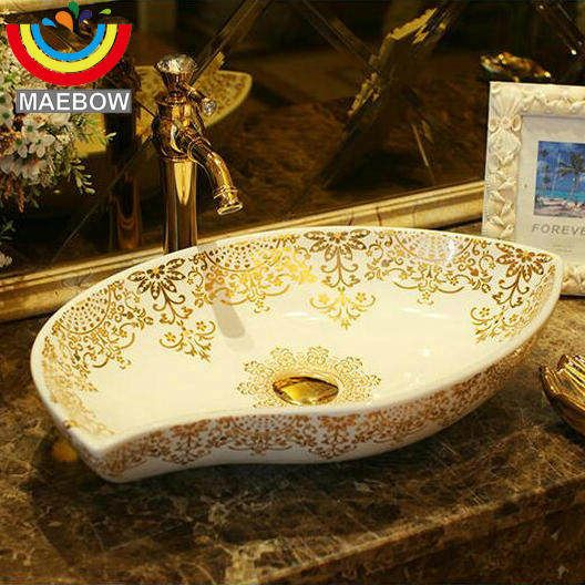 Europe Style Handmade Flower Shape Countertop Ceramic Bathroom Basin Bathroom Sink