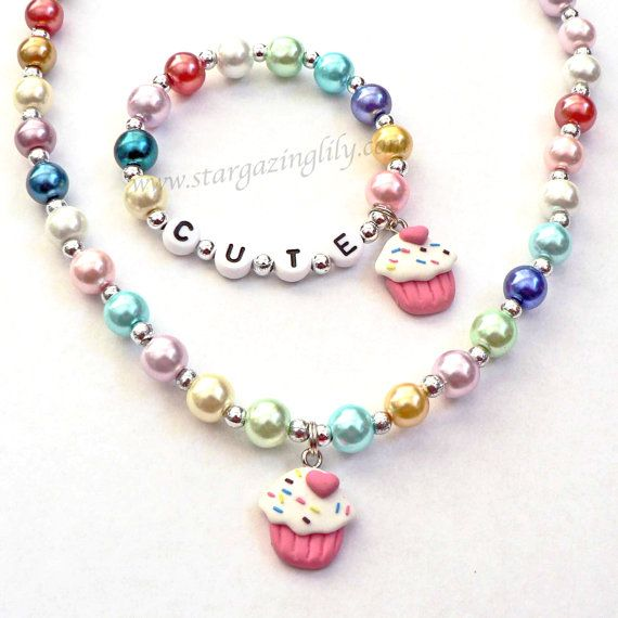 Cupcake Personalized Name Necklace & Bracelet Set Jewelry for little girls YOU CHOOSE the bead type and cupcake chocolate or vanilla