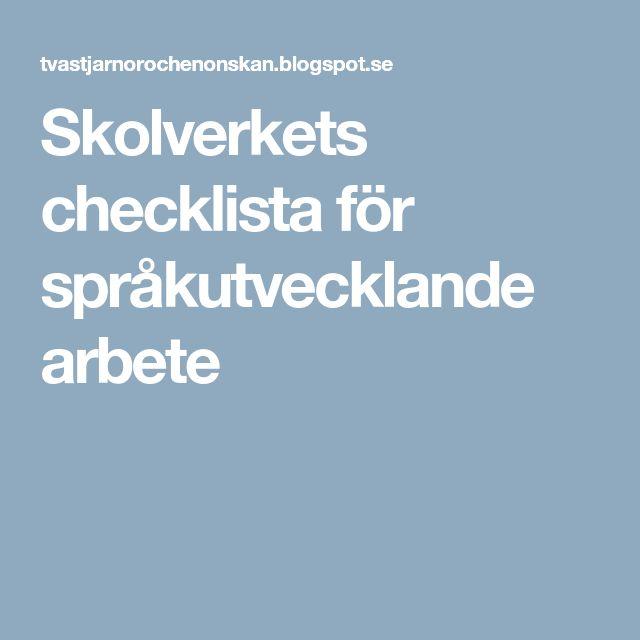 Skolverkets checklista för språkutvecklande arbete