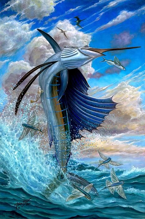 Sailfish and Flying fish...such a great painting!