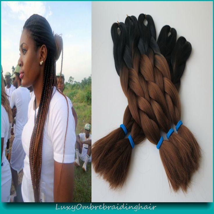 "Black Dark Auburn brown 10pieces 24"" 100g/pc Ombre Two Tone Kanekalon Jumbo Braid Luxy Synthetic Box Crochet Braiding Hair"