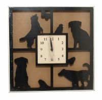 Sil Silhouette Black Dog Wall Clock 40cm  A square clock with a silhouette dog design. Approx 40 x 40cm.