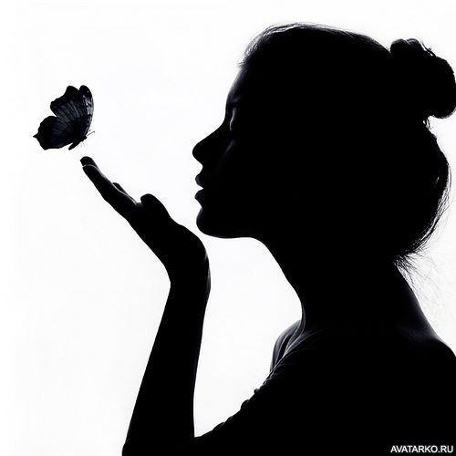 Силуэт девушки с поднятыми руками - аватары и картинки