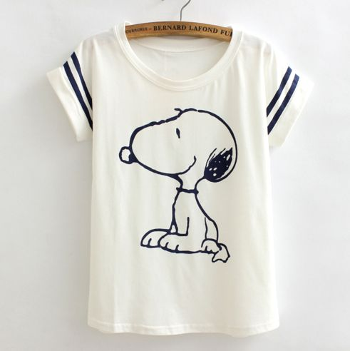 poleras de mujer Loose camisetas t shirts women Flag snoopy Vintage harajuku printed lady casual t-shirt tops