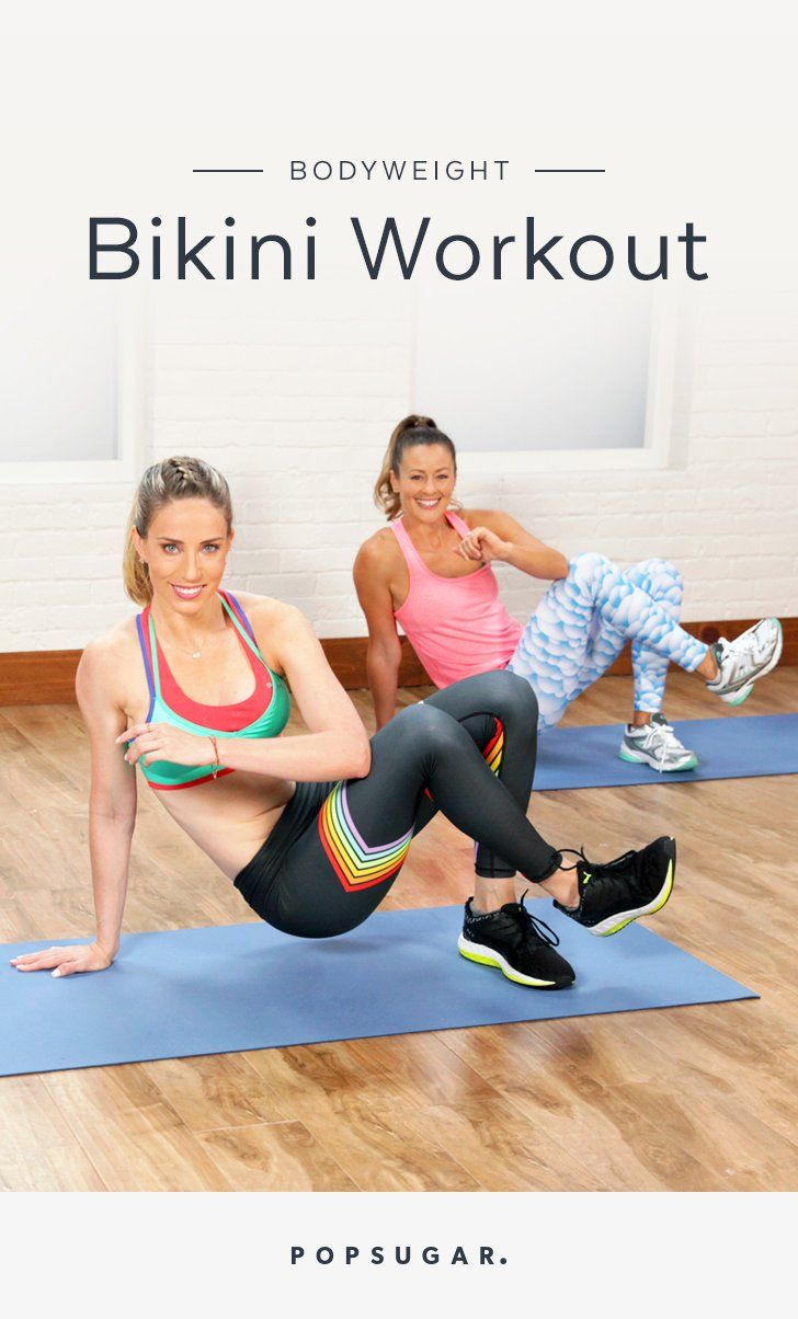 25 Minute Burpee, squat, and plank your way to a bikini bod with Astrid Swan​ of Barry's Bootcamp.​ You can do this full-body circuit, made up entirely of bodyweight moves, just about anywhere.