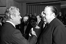 Сергей Бондарчук и Орсон Уэллс на премьере фильма «Битва на Неретве» в Сараево (ноябрь 1969)