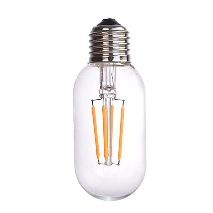 Żarówka dekoracyjna LED filament T45 4W E27  Ledowa żarówka dekoracyjna o mocy DW, daje światło porównywalne do 40W-owej tradycyjnej żarówki. Przeznaczona jest do stosowania wewnętrznego, zwłaszcza do lamp z otwartymi lub przezroczystymi kloszami. Dzięki rozbudowaniu wewnętrznego modułu żarowego, żarówka intryguje rozległym polem świecenia. Sprawdza się jako źródło światła dekoracyjnego w pomieszczeniach o charakterze industrialnym bądź też loftowym.
