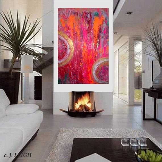 Welcome!      THIS IS RESERVED FOR JULIE      Celestial Rain    A colorful large 36x24 modern art abstract painting in shades of purple, orange, pink, gold, white, and multiple mixed colors. The painting has texture using the impasto palette knife. This painting has a nice weathered/textured appearance.    The canvas is a professional gallery wrapped canvas and is ready to hang. The sides are painted black if you prefer not to frame (If you have a color preference for the sides, please let…