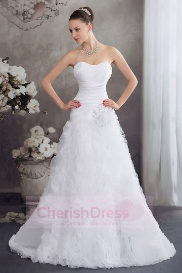 A-Line Empire Rushing Beading Flowers Court Train Wedding Dress