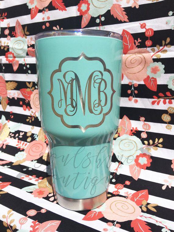 Tiffany Blue Tumbler-  Perfect Bridesmaid, Birthday, Bridal Shower Gift!! Powder Coated Ozark Trail 20 oz. 30 oz. by SoulShineBoutique Same performance as YETI for HALF the price!