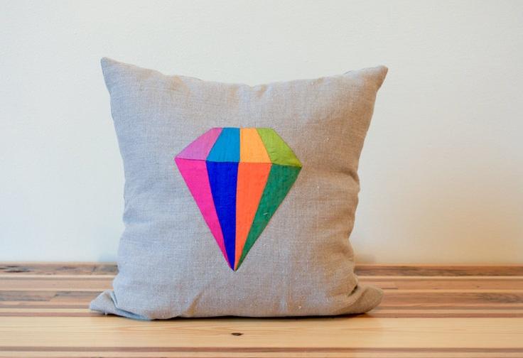 Diamond silk and linen colorful pillow.