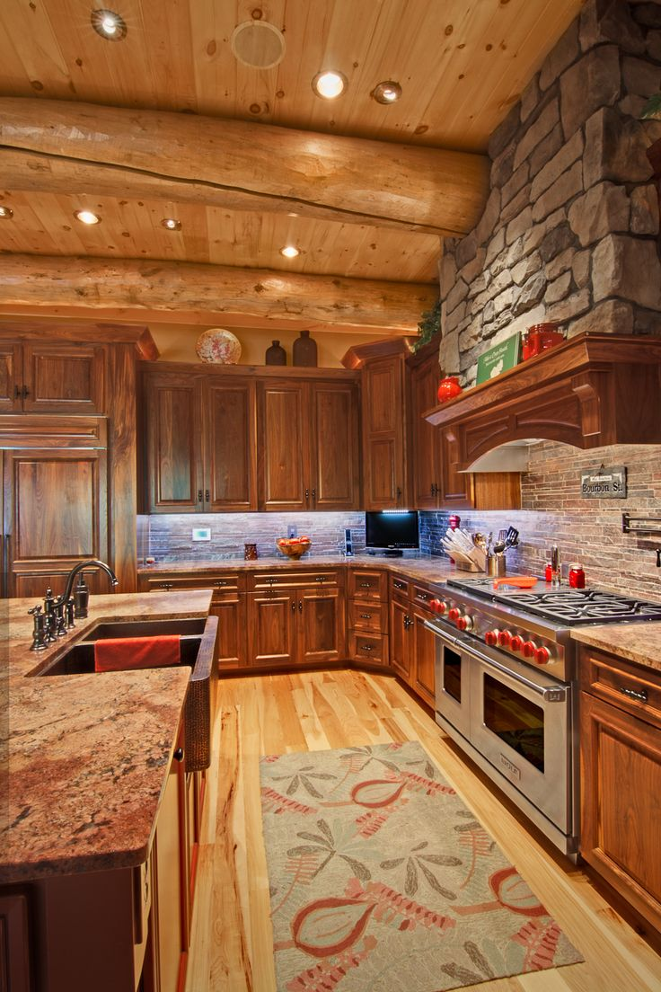 Best 25 log house kitchen ideas on pinterest log cabin for House plans with kitchen in back of house