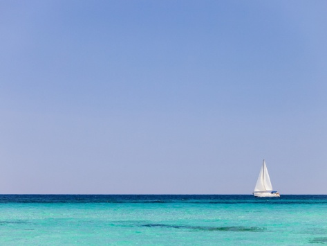 Italy, Sardinia, Olbia-Tempo, Berchidda, a Sailing Boat Out at Sea