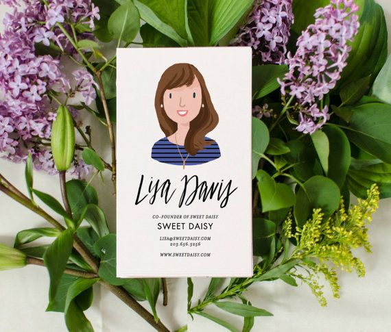 A bust portrait version of my popular illustrated business card. A 3.5 x 2 business card personalized with a custom illustrated portrait and your