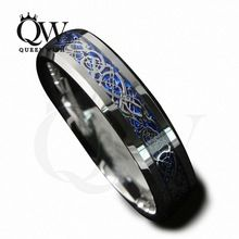 Queenwish 6mm Bleu Argenture Celtique Dragon Carbure De Tungstène Bague Bijoux Hommes Wedding Band Taille 5-13(China (Mainland))