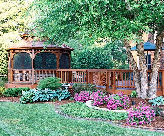 Graceful Gazebo An attached patio offers design inspiration. -- Utilize a gazebo as a natural extension of your deck. -- Sides of a gazebo may be left open or screened; the latter will likely increase gazebo use time as it keeps out insects and even light rain. -- To create consistency between house and patio, repeat details and materials in your designs. Here, the rail design and wood stain from the house are repeated on the gazebo. -- Curves in the surrounding flowerbeds echo curves on the…