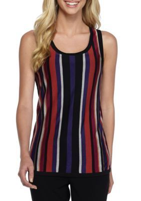 Anne Klein Women's Multi Striped Sweater Tank - African Violet Combo - Xl