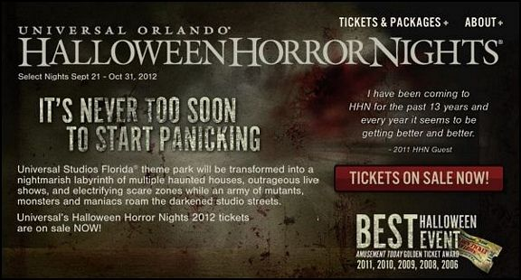 Universal Studios Halloween Horror nights tickets on sale now for 2012!