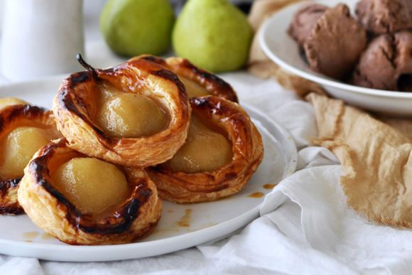 Baked Pear Tarts with Chocolate, Coffee & Biscuit Ice Cream