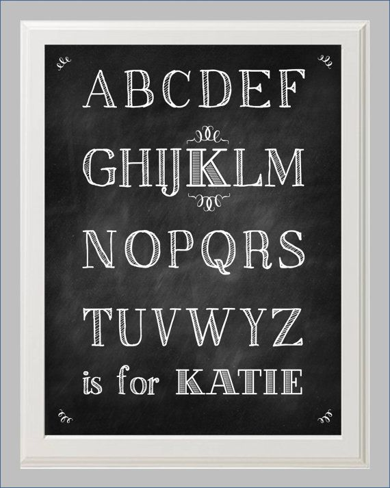 chalk lettering font personalized chalkboard alphabet a to z print by kaybee 20805
