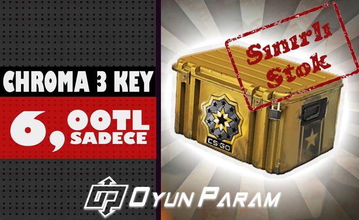 Cs:Go 'da en uygun fiyatlara key satışımız başlamıştır. Cs:Go Chroma 3 Key stok lar ile sınırlı olarka 6 tl den satıştadır.