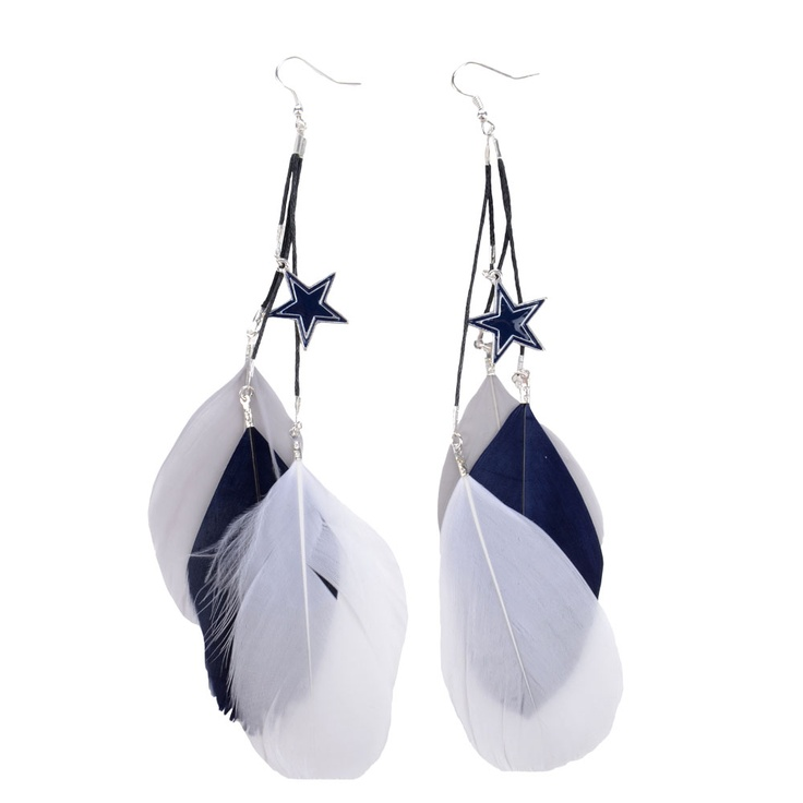 Dallas Cowboys Feather Earrings | Dallas Cowboys Clothing | Dallas Cowboys Store - Dallas Cowboys Pro Shop