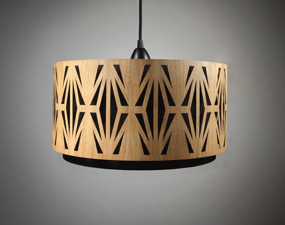 Lampshade made of wood with cutouts / Handmade by minjonshop, €249.00