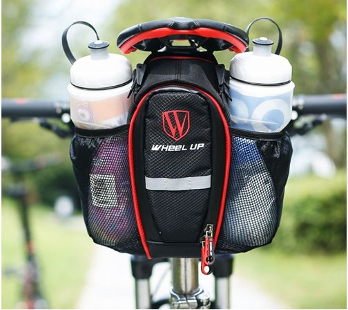2 Colors Bicycle Seatpost Bag With 2 Bottle Pockets MTB Road Bike Riding Lightweight Double Side Water Bag Cycling Accessories