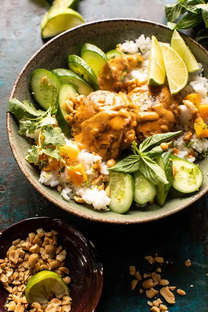 Weeknight Thai Peanut Chicken With Spicy Lime Mango Recipe