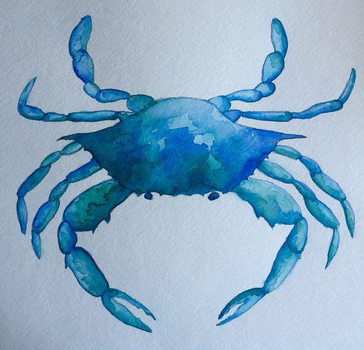 Watercolor of blue crab, by Lynn Egigian