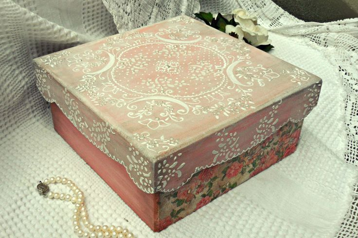 Vintage lace box decoupage shabby chic