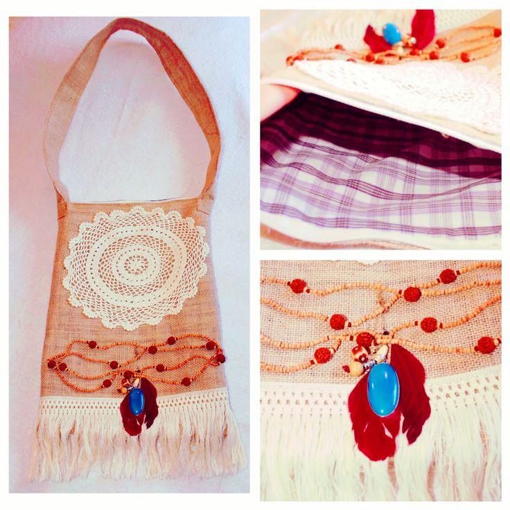 Upcycled Handmade hessian messenger bag, boho embellished. Vintage & recycled materials used  https://www.etsy.com/au/listing/468740390/hessian-decorative-handbag-burlap https://www.etsy.com.. one of a kind!