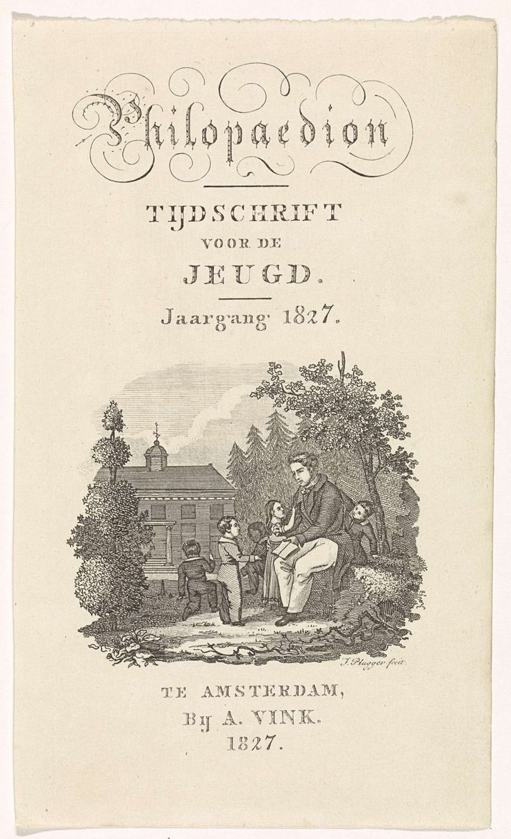 Leraar met leerlingen voor een schoolgebouw, Jacob Pl�gger, Adrien Vink, 1827