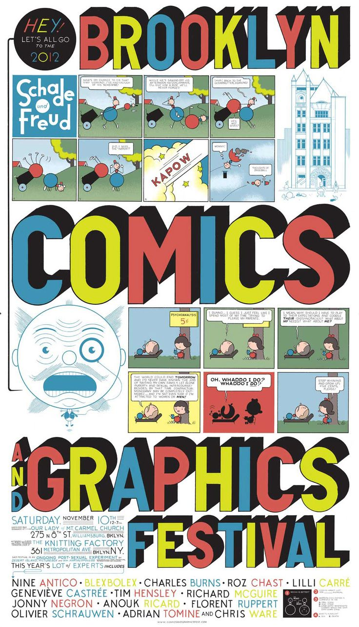 Poster design for college fest - Chris Ware S Poster For The Brooklyn Comics And Graphics Festival