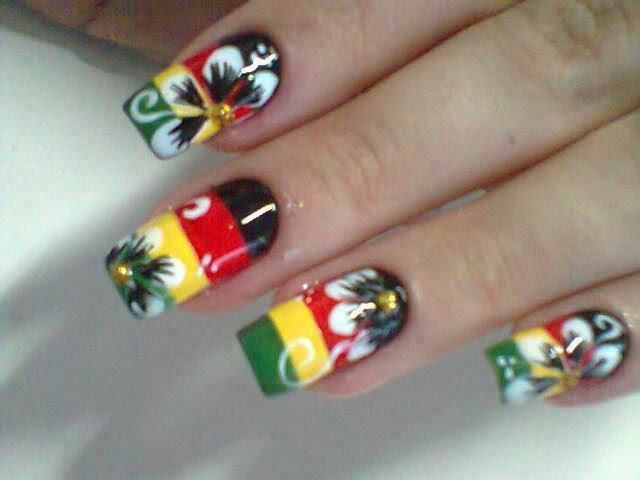 reggae nails!!!  Awesome!! I would so rock this look!!
