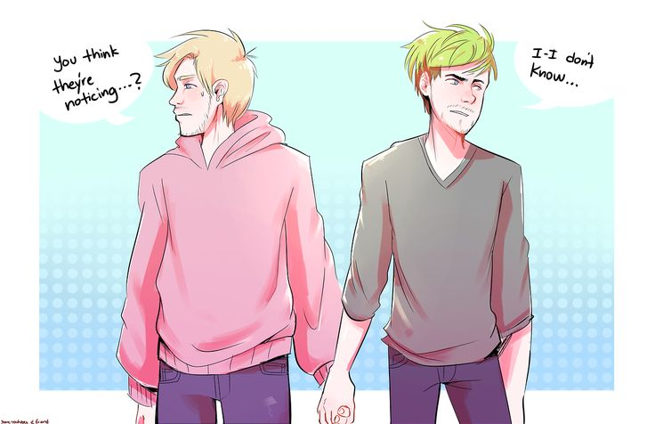 """some-youtubes: I rewatched Jack's vid on """"who's your youtuber boyfriend"""" and he mentions that if he and Felix dated then WSJ would probably start writing about that instead of the nazi biz. Then my friend and I thought of an au if they started fake-dating...   Jelix Septicpie   Felix and Jack"""