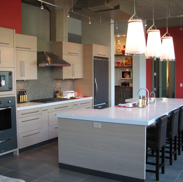 Urban Kitchen Design With Glossy White Countertop And Grey Kitchen Cabinet. New  Kitchen InspirationLoft ... Part 18