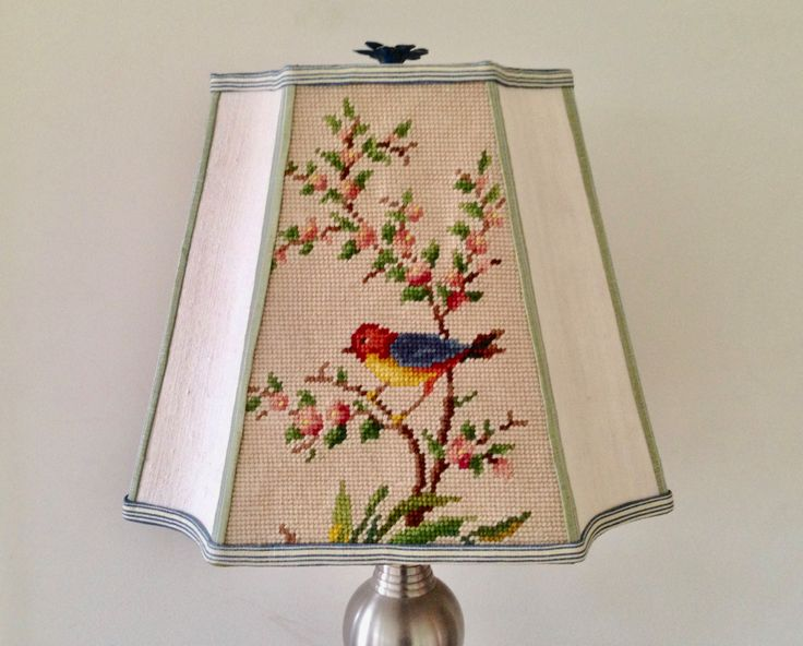 Bird Rectangle Lamp Shade, Lampshade in Vintage Needlepoint, Green, Blue and Red - Bird Lovers, Antique Lighting, Interior Design Element by lampshadelady on Etsy