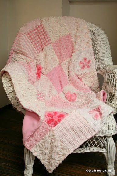 vintage chenille quilt pink