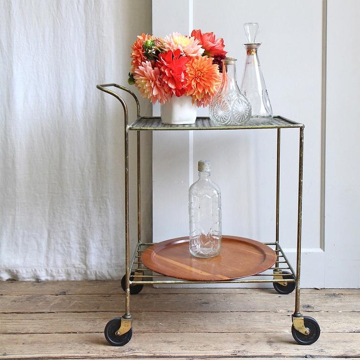 vintage brass bar cart / trampoline vintage via fab.com