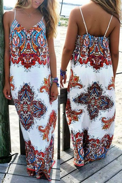 Spaghetti Strap Printed Maxi Dress WHITE: Maxi Dresses | ZAFUL
