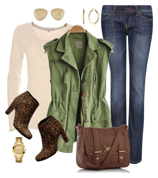 Fall Layers by fiftynotfrumpy on Polyvore featuring polyvore, fashion, style, MANGO, LOFT, kangol, GUESS, Nine West, clothing, gold hoops, booties, straight leg jeans, long sleeve tees and outerwear
