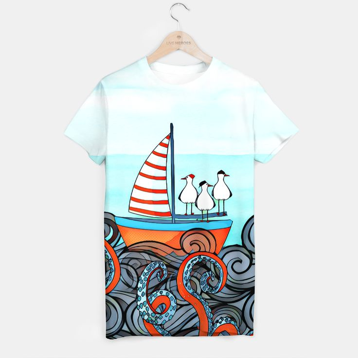 Octopus and little boat T-shirt, Live Heroes