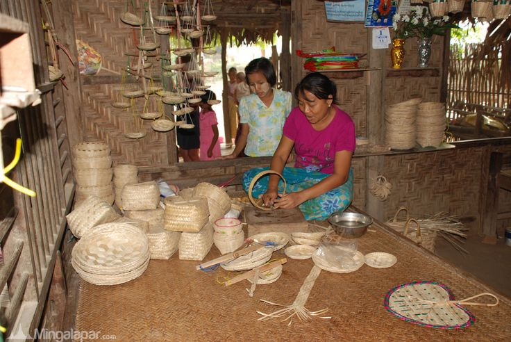 Burmese lady making Monywa handicrafts