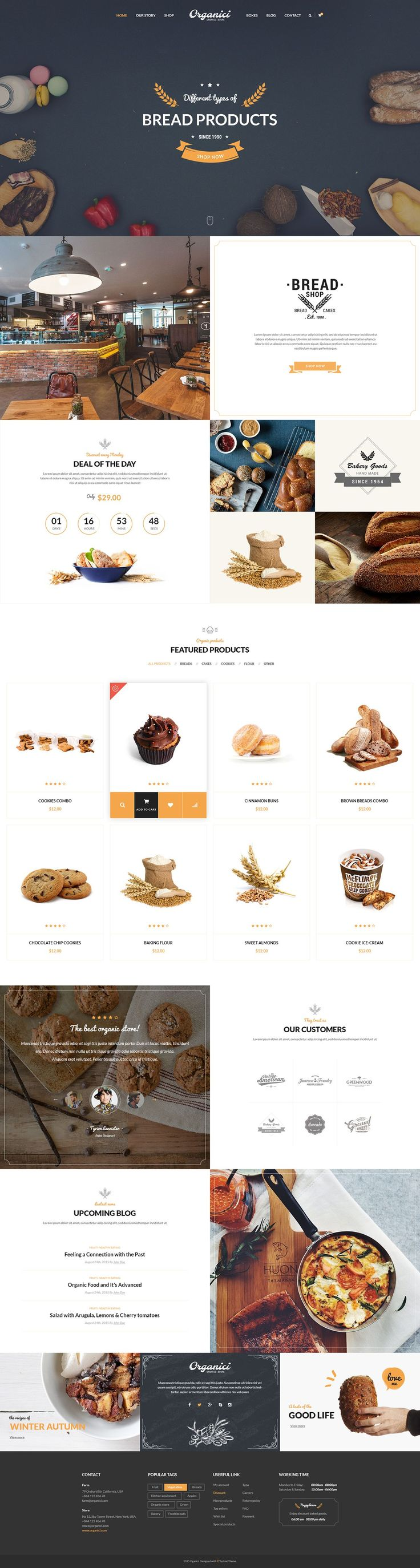 Organici is the premium PSD template for Organic Food Shop. Built especially for any kind of organic store: Food, Farm, Cafe…, Organici brings in the fresh interface with natural and healthy style. The template includes essential pages for a Organic Store… #WebDesign