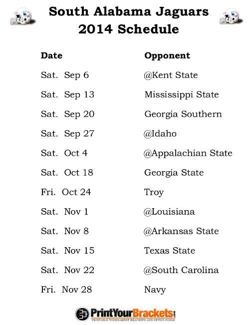 Printable South Alabama Jaguars Football Schedule 2014